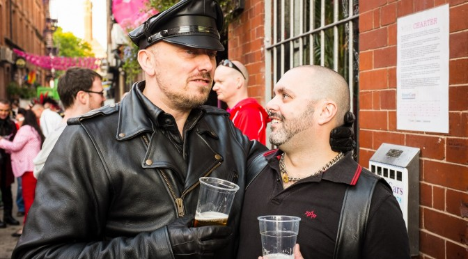 Drinking outside Company Bar at Manchester Pride